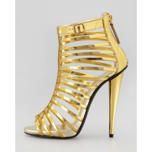 Golden Open Toe  Hollow-out Stiletto Heel  Sandals for Women