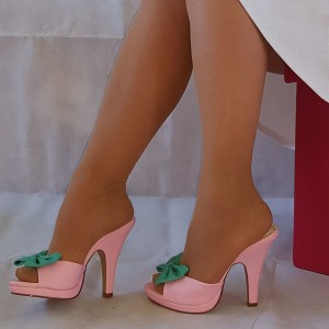 Pink Satin and Green Bow Mule Heels Peep Toe Platform Chunky Heels