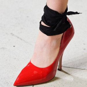 Women's Red And Black Ankle Strap Heels Pointed Toe Pumps