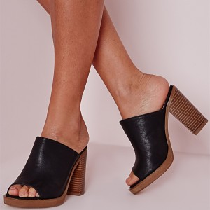 Women's  Black Mule chunky Heel Sandals