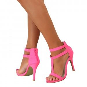 Women's Hot Pink Stiletto Heels T Strap Sandals