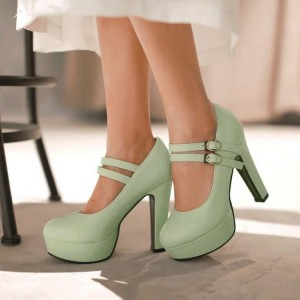Women's Green Mary Jane Buckle Chunky Heels Pumps