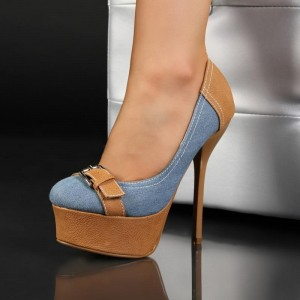 Women's Blue And Brown Almond Toe Buckle Platform Heels Pumps