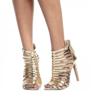 Women's Golden Patent Leather Stiletto Heel Strappy Sandals