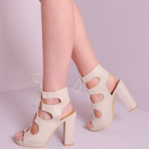 Women's White Chunky Heel Slingback Lace Up Sandals