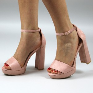 Women's Blush Suede Platform Chunky Heels Ankle Strap Sandals