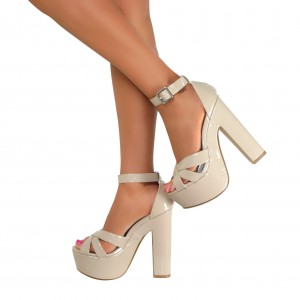 Nude Ankle Strap Sandals Patent Leather Platform Chunky Heels