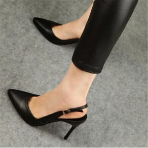 Women's Black Stiletto Heels Buckle Slingback Pumps