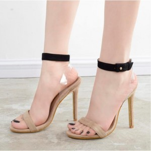 Women's Khaki Open Toe Clear Slingback Black Ankle Strap Sandals
