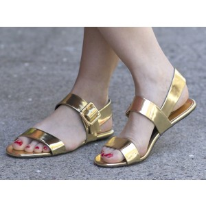 Women's Golden Patent Leather Sandals Comfortable Flats