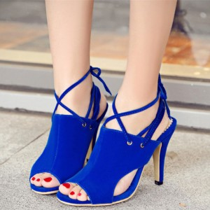 Women's Royal Blue Peep Toe Slingback Cross Over Strappy Heels Sandals