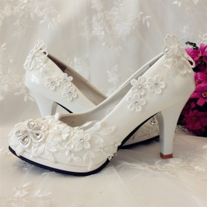 Women's White Floral Rhinestone Bridal Heels Stiletto Heel Pumps