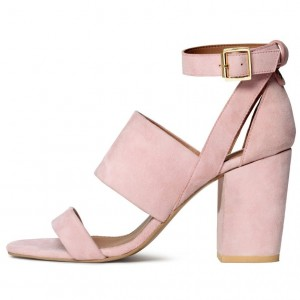Women's Blush Ankle Strap Open Toe Block Heels Sandals