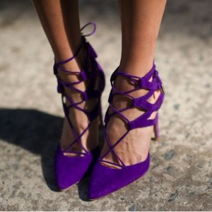Women's Purple Strappy Heels Pointy Toe Suede Stilettos Pumps