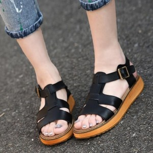 Women's Black Open Toe Buckle Comfortable Flats Ankle Strap Sandals