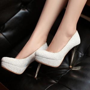 White Sparkly Heels Dress Shoes Glitter Stiletto Heels Platform Pumps
