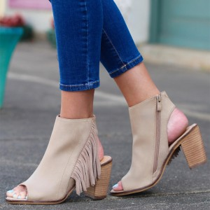 Beige Chunky Heel Open Toe Boots Fringe Summer Boots US Size 3-15