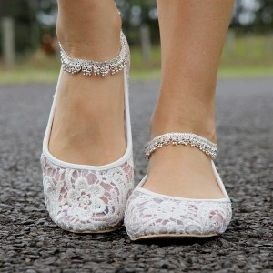 Women's White Lace Ankle Strap Flats Bridal Shoes