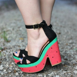 Summer Watermelon Peep Toe Platform Chunky Heels Ankle Strap Sandals