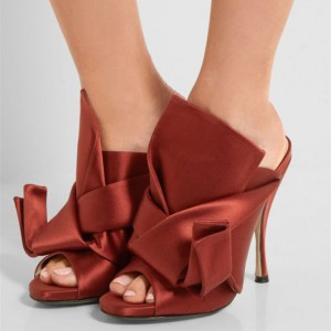 Women's Burgundy Commuting Stiletto Heels Open Toe Mule Sandals