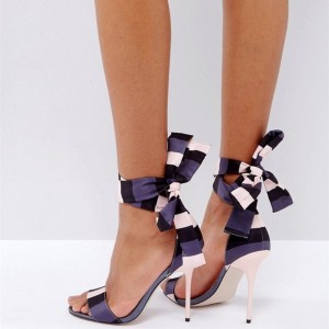 Women's Purple and White Stiletto Heels Stripe Lace Up Ankle Strap Sandals