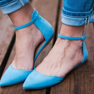 Women's Blue Pointy Toe Dress Shoes Suede Ankle Strap Pumps