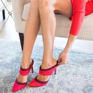 Women's Rosy Red Stiletto Heels Dress Shoes Pointy Toe Mules Sandals