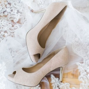 Beige Bridal Heels Peep Toe Stiletto Heels Pumps Wedding Shoes