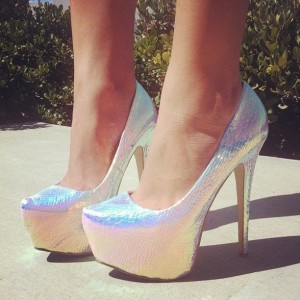 FSJ Platform High Heels Holographic Shoes in Silver