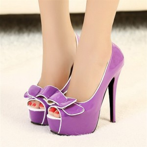 Women's Purple Peep Toe Stiletto Heels Dress Shoes Platform Heels Pumps with Bow