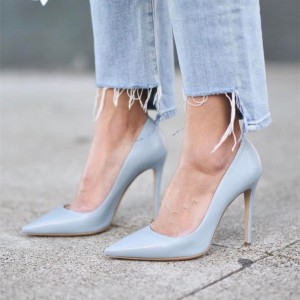 Women's Pointy Toe Grey Stiletto Heels Dress Shoes Office Heels Pumps