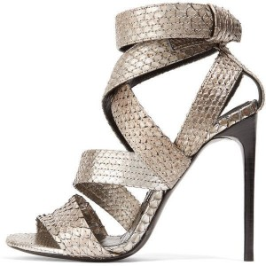 Dark Champagne Strappy Sandals Open Toe Stiletto Heels