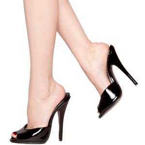 Black Peep Toe Heels Patent Leather Sexy Stiletto Heel Mules