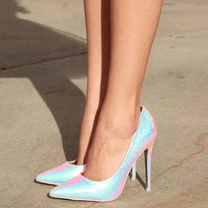 Women's Cyan Stiletto Heels Dress Shoes Pointy Toe Python Pumps