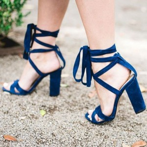 Midnight Blue Strappy Sandals Chunky Heel Lace up Velvet Heels