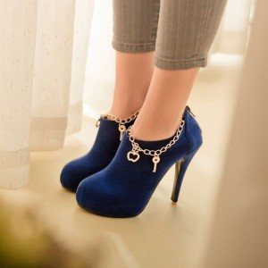 Women's Royal Blue Almond Toe Suede Stiletto Heels Platform Ankle Booties for Female