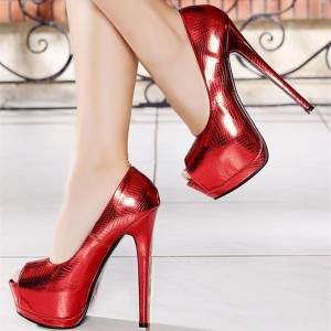 Women's Red Stiletto Heels Peep Toe Python Platform Heels Pumps For Party