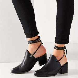 Black Pointy Toe Block Heels Ankle Wrap Strappy Summer Boots