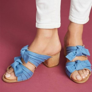 Women's Blue Denim Peep Toe Chunky Heels Mules Sandals with Cute Bow