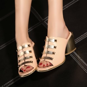 Women's Nude and Golden Chunky Heels Patent Leather Elegant Peep Toe Mules Sandals