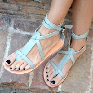 Light Blue Summer Sandals Open Toe Comfortable Flats