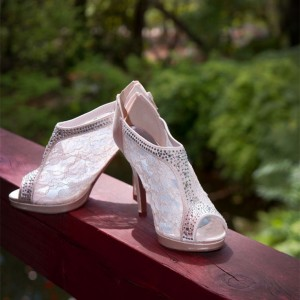 Ivory Satin Bridal Shoes Peep Toe Rhinestone Lace Ankle Booties