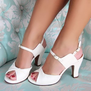 Women's White Peep Toe Chunky Heels Ankle Strap Mary Jane Pumps