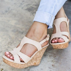 Women's Beige Peep Toe Wedge Sandals Platform T Strap Wedge Heels Sandals
