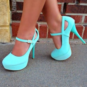 Turquoise Mary Jane Pumps Round Toe Stiletto Heel Platform Shoes