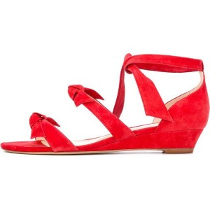 Women's Coral Red Wedge Sandals Open Toe Suede Ankle Strap Sandals with Bow