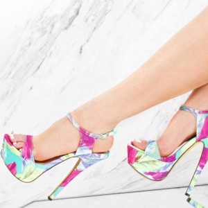 Women's Pink Flora Platform Stiletto Heels Open Toe Ankle Strap Sandals