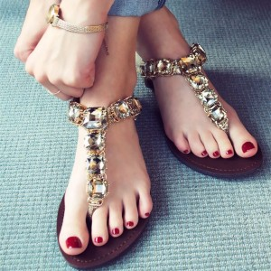 Gold Jeweled Sandals Rhinestone Flats Beach Shoes US Size 3-15