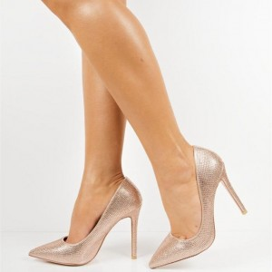 Champagne Evening Shoes Sparkly Pointed Toe Stiletto Heel Pumps