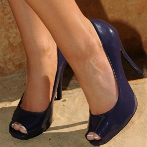 Women's Navy Platform Heels Peep Toe Chunky Heel Pumps Office Heels